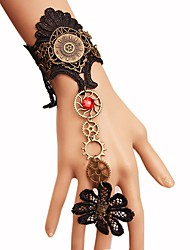 cheap -Women's Ring Bracelet / Slave bracelet Braided Flower Gear Slaves Of Gold Ladies Vintage Steampunk Kinetic Plush Fabric Bracelet Jewelry Black For Carnival Masquerade Cosplay Costumes
