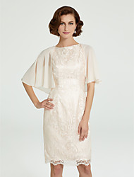 cheap -Sheath / Column Mother of the Bride Dress Jewel Neck Knee Length Chiffon Lace Sleeveless with Lace 2020