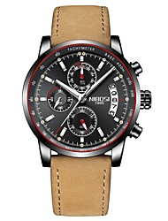 cheap -Men's Sport Watch Dress Watch Japanese Japanese Quartz Leather Black / Brown 30 m Water Resistant / Waterproof Calendar / date / day Chronograph Analog Classic Fashion - Black Brown / Noctilucent