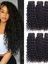 cheap -6 Bundles Brazilian Hair Water Wave Virgin Human Hair Human Hair Extensions 8-28 inch Natural Color Human Hair Weaves Silk Base Hair For Black Women 100% Virgin Human Hair Extensions / 10A