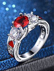 cheap -Women's Statement Ring Ring Synthetic Ruby 1pc Silver Copper Platinum Plated Imitation Diamond Four Prongs Ladies Sweet Lolita Korean Evening Party Carnival Jewelry Vintage Style 3 stone Past Present