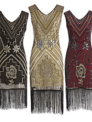 cheap -The Great Gatsby Charleston 1920s Roaring Twenties Flapper Dress Cocktail Dress Women's Sequins Tassel Rivet Costume Black / Golden / Red Vintage Cosplay Party Homecoming Prom Sleeveless Knee Length