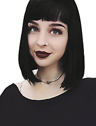 cheap -100% Virgin Remy Human Hair Lace Front Wig Brazilian Hair Straight Wig Bob Short Bob Middle Part 130% Density with Baby Hair Natural Hairline Bleached Knots Women's Short Human Hair Lace Wig Bangs