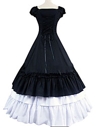 cheap -Gothic Victorian Medieval 18th Century Dress Party Costume Masquerade Women's Cotton Costume Black Vintage Cosplay Short Sleeve Floor Length Plus Size Customized