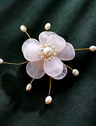 cheap -Women's Freshwater Pearl Brooches Classic Flower Ladies Ethnic Brooch Jewelry Light Pink For Daily