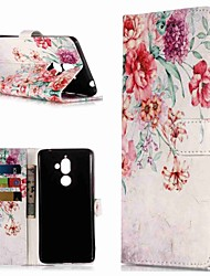 cheap -Case For Nokia Nokia 7 Plus / Nokia 6 2018 / Nokia 1 Wallet / Card Holder / with Stand Full Body Cases Flower Hard PU Leather