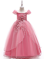 cheap -Princess Floor Length Party / Pageant Flower Girl Dresses - Polyester Short Sleeve Off Shoulder with Lace / Embroidery
