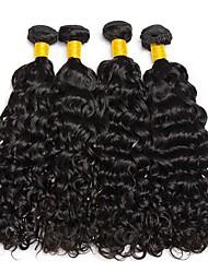 cheap -4 Bundles Brazilian Hair Water Wave Virgin Human Hair Natural Color Hair Weaves / Hair Bulk Bundle Hair One Pack Solution 8-28inch Natural Color Human Hair Weaves Cute Fashionable Design Gift Human