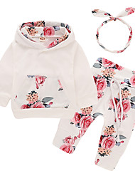 cheap -Baby Girls' Active / Basic Daily / Sports Print Long Sleeve Long Cotton Clothing Set White / Toddler