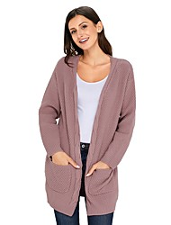 cheap -Women's Daily Street chic Solid Colored Long Sleeve Loose Regular Cardigan, Deep V Fall / Winter Cotton Red / Pink / Khaki L / XL / XXL / High Waist