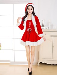 cheap -Santa Clothes Women's Adults' Highschool Halloween Christmas Christmas Halloween Carnival Festival / Holiday Polyster Outfits Red Solid Colored Christmas