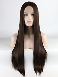 cheap -Synthetic Lace Front Wig Straight Middle Part Lace Front Wig Long Brown Synthetic Hair 16-26 inch Women's Adjustable Heat Resistant Elastic Brown