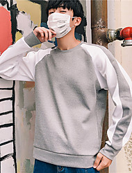 Недорогие -Муж. Вырез под горло Пэчворк Футболка для бега Контрастных цветов Спандекс Бег Фитнес Тренировка в тренажерном зале Верхняя часть Большие размеры Длинный рукав Спортивная одежда / Слабоэластичная