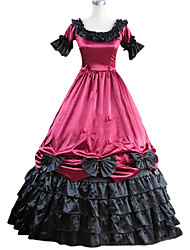 cheap -Victorian 18th Century Dress Party Costume Masquerade Women's Satin Costume Fuchsia Vintage Cosplay Party Prom Short Sleeve Floor Length Plus Size Customized
