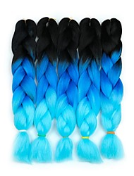 "cheap -Braiding Hair Curly Twist Braids Jumbo Dreadlocks / Faux Locs Synthetic Hair 5 Pieces Hair Braids Blue Pink 24 inch 23 1/2""60 cm Synthetic Color Gradient Hot Sale Christmas Dailywear Daily Wear"
