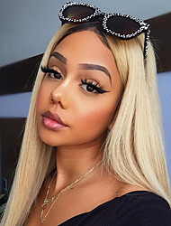 cheap -Virgin Human Hair Remy Human Hair 360 Frontal Wig Avril style Peruvian Hair Straight Blonde Wig 150% Density with Baby Hair Silky Ombre Hair Dark Roots Natural Hairline Women's Long Human Hair Lace