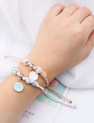 abordables -2pcs Bracelet à Perles Bracelet Pendentif Femme Tressé simple Coréen Bracelet Bijoux Couleur blanche AB pour Festival