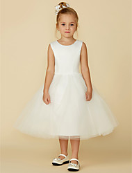 cheap -Princess Tea Length Wedding / First Communion Flower Girl Dresses - Satin / Tulle Sleeveless Jewel Neck with Lace