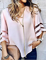 cheap -Women's Solid Colored Loose Blouse Daily V Neck Wine / White / Black / Blue / Red / Yellow / Blushing Pink / Fuchsia