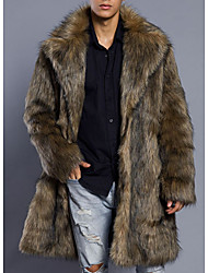 cheap -Men's Daily Basic Long Fur Coat, Solid Colored Turndown Long Sleeve Faux Fur / PU Brown