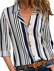 cheap -Women's Daily Basic Plus Size Shirt - Striped Shirt Collar White