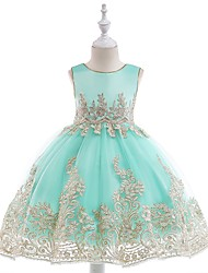cheap -Princess Tea Length Wedding / Party / Pageant Flower Girl Dresses - Tulle Sleeveless Jewel Neck with Sash / Ribbon