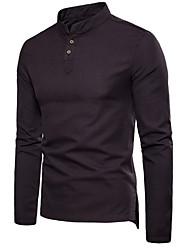 abordables -Tee-shirt Grandes Tailles Homme, Couleur Pleine - Lin Mao Gris Foncé / Manches Longues