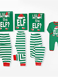 cheap -Family Look Family Matching Outfits Clothing Set Christmas Daily Striped Christmas Long Sleeve Green Basic