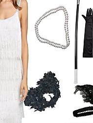 abordables -Gatsby Charleston Rétro Vintage Années 1920 Robe à clapet Ensembles d'accessoires de costume Gants Collier Femme Costume Bijoux de Cheveux Collier de perles Noir / Blanche / Gris Vintage Cosplay