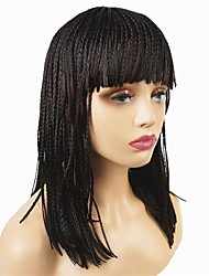 cheap -Synthetic Wig Afro Braid Wig Burgundy Medium Length Dark Brown / Dark Auburn Synthetic Hair 18 inch Women's Synthetic African American Wig Braided Wig Burgundy