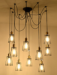 cheap -10-Light 15 cm Rope / Creative / Extended Chandelier Metal Industrial Painted Finishes Retro 110-120V / 220-240V