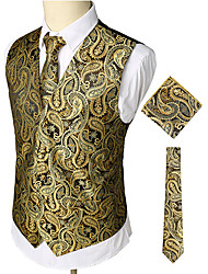 cheap -Men's Work / Club Business / Luxury / Vintage Spring / Fall / Winter Regular Vest, Paisley V Neck Sleeveless Cotton / Spandex Print Gold / Business Casual / Slim