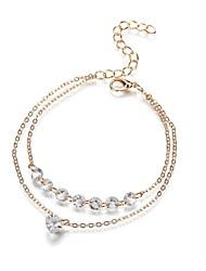 cheap -Women's Beaded Chain Bracelet Rhinestone Heart Ladies Romantic Bracelet Jewelry Gold For Gift Festival