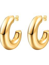 cheap -Women's Earrings Shrimp Earrings Name Alphabet Shape Ladies Fashion Stainless Steel Earrings Jewelry Gold / Black / Silver For Gift Daily 1 Pair