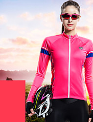 cheap -SANTIC Women's Long Sleeve Cycling Jersey with Tights Winter Pink Bike Top Mountain Bike MTB Road Bike Cycling Breathable Moisture Wicking Sports Clothing Apparel / Stretchy / Advanced / Advanced