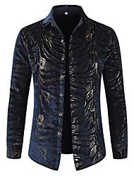 cheap -Men's Party Daily Club Luxury Cotton Shirt - Striped Print Classic Collar Navy Blue / Long Sleeve