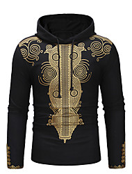 cheap -Men's Casual / Street chic Hoodie - Geometric / Tribal Black US32 / UK32 / EU40