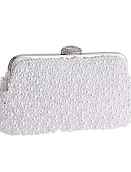 cheap -Women's Bags Polyester Evening Bag Pearls Crystals Solid Color Wedding Bags Wedding Party Event / Party White Beige