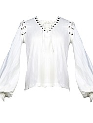 abordables -Steampunk Chemisier / Chemise Femme Coton Costume Blanche Vintage Cosplay Manches Longues