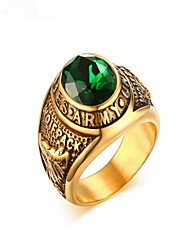 cheap -Men's Ring Emerald 1pc Gold Titanium Steel Circle Fashion Military Party Daily Jewelry Classic High School Rings Class Cool