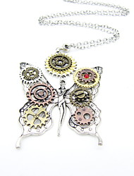 cheap -Women's Statement Necklace Hollow Out Butterfly Gear Statement Ladies Vintage Steampunk Alloy Silver 80+5 cm Necklace Jewelry 1pc For Carnival Masquerade