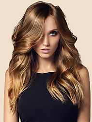 cheap -Remy Human Hair Lace Front Wig Middle Part Kardashian style Brazilian Hair Wavy Brown Wig 150% Density 20 inch with Baby Hair Pre-Plucked Bleached Knots Women's Long Human Hair Lace Wig WoWEbony