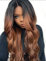 cheap -Synthetic Wig Synthetic Lace Front Wig Wavy Body Wave Middle Part Lace Front Wig Long Dark Brown / Medium Auburn Synthetic Hair 26 inch Women's Soft Heat Resistant Natural Hairline Brown Modernfairy