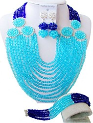 cheap -Women's Beaded Necklace Layered Ladies Fashion African Austria Crystal Earrings Jewelry Blue / Hot Pink / Champagne For Wedding