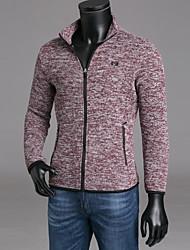 abordables -Homme Mince Pantalon - Couleur Pleine Noir / Col Arrondi / Manches Longues