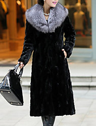 cheap -Women's Work / Party / Cocktail Street chic / Sophisticated Winter Plus Size Long Fur Coat, Solid Colored Black & Gray Rolled collar Long Sleeve Faux Fur Patchwork Black / Gray