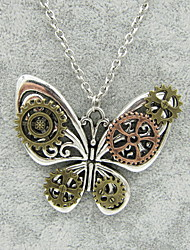 cheap -Women's Statement Necklace Vintage Necklace Hollow Out Butterfly Ladies Vintage Steampunk Kinetic Alloy Silver Bronze 56+5 cm Necklace Jewelry 1pc For Carnival Masquerade