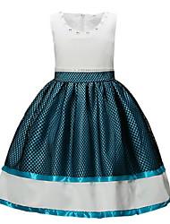 cheap -Kids Girls' Sweet Solid Colored Sleeveless Dress Navy Blue