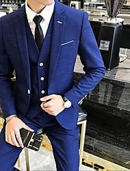 cheap -Solid Colored / Striped Tailored Fit Polyester Suit - Slim Notch Single Breasted One-button / Suits