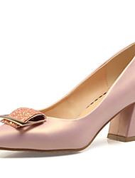 cheap -Women's PU(Polyurethane) Spring Sweet / Minimalism Heels Chunky Heel Pointed Toe Sequin / Buckle White / Pink / Almond